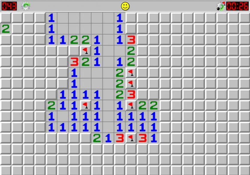 Buscaminas fue uno de los primeros juegos que se instalaron en la interfaz de Windows