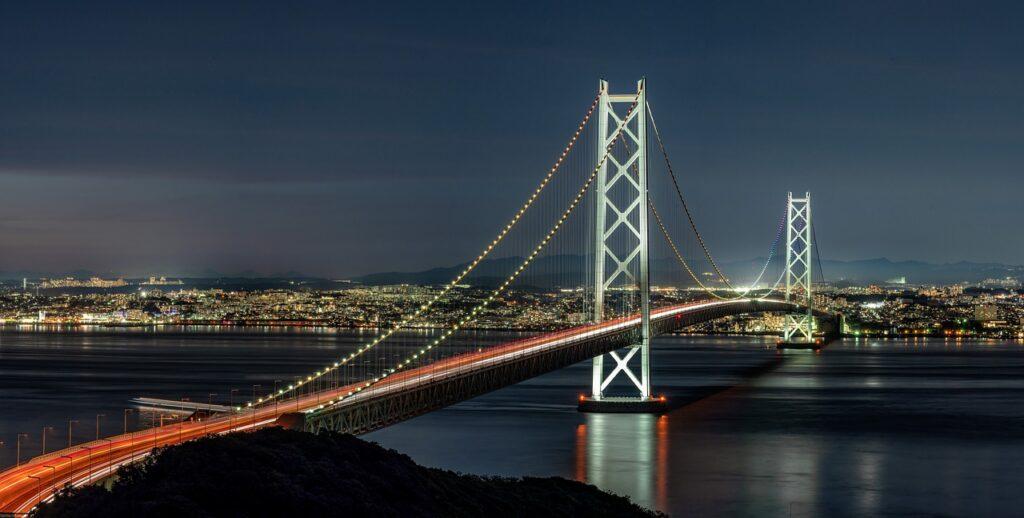 El gran puente colgante Akashi Kaikyo