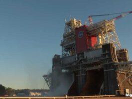 prueba de motores del nuevo cohete SLS de la NASA
